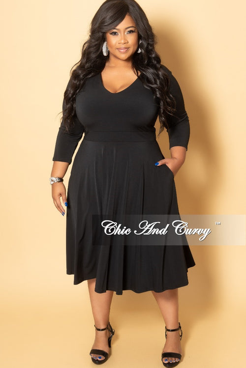 New Plus Size Long Sleeve Midi Dress in Black