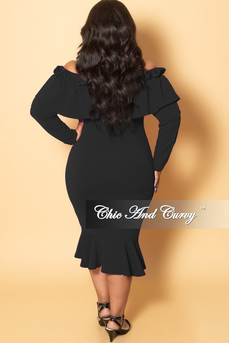 New Plus Size Off the Shoulder Long Sleeve Ruffle BodyCon Dress in Black