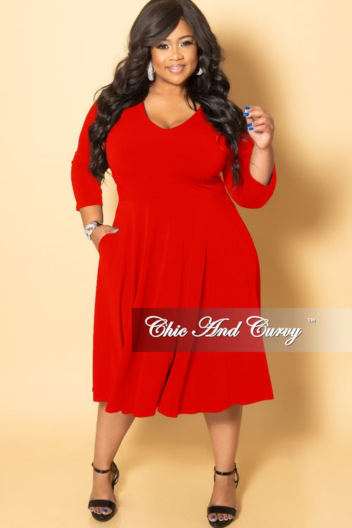 New Plus Size Long Sleeve Midi Dress in Red