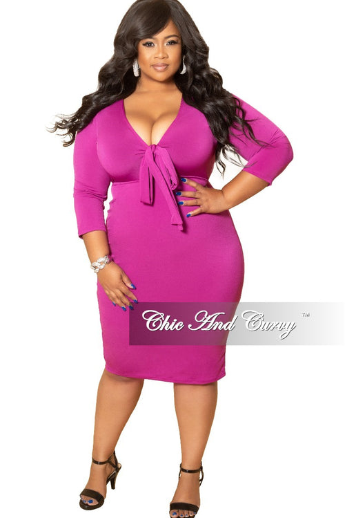 New Plus Size Bow Front BodyCon Dress with 3/4 Sleeves and Back Slit in Magenta