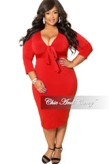 New Plus Size Bow Front BodyCon Dress with 3/4 Sleeves and Back Slit in Red