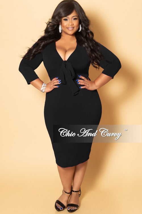 New Plus Size Bow Front BodyCon Dress with 3/4 Sleeves and Back Slit in Black