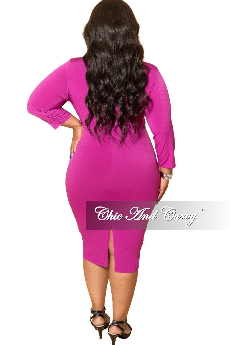 Final Sale Plus Size Bow Front BodyCon Dress with 3/4 Sleeves and Back Slit in Magenta