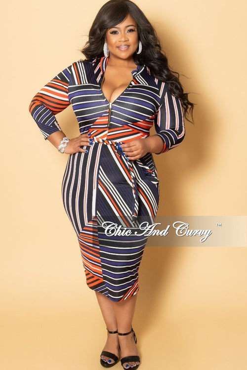 New Plus Size Zip-Up BodyCon Dress with Attached Tie in Stripe Multi Color Print