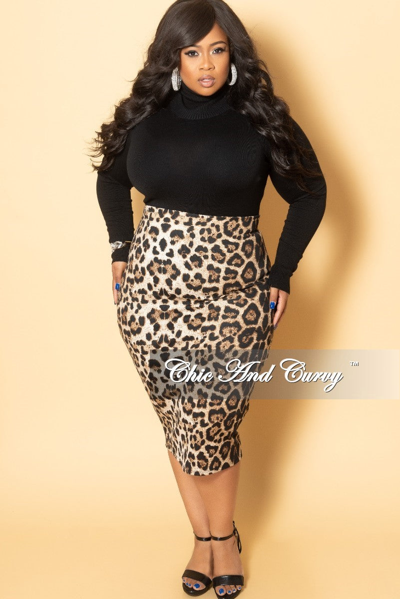 New Plus Size High Waist Pencil Skirt in Animal Print