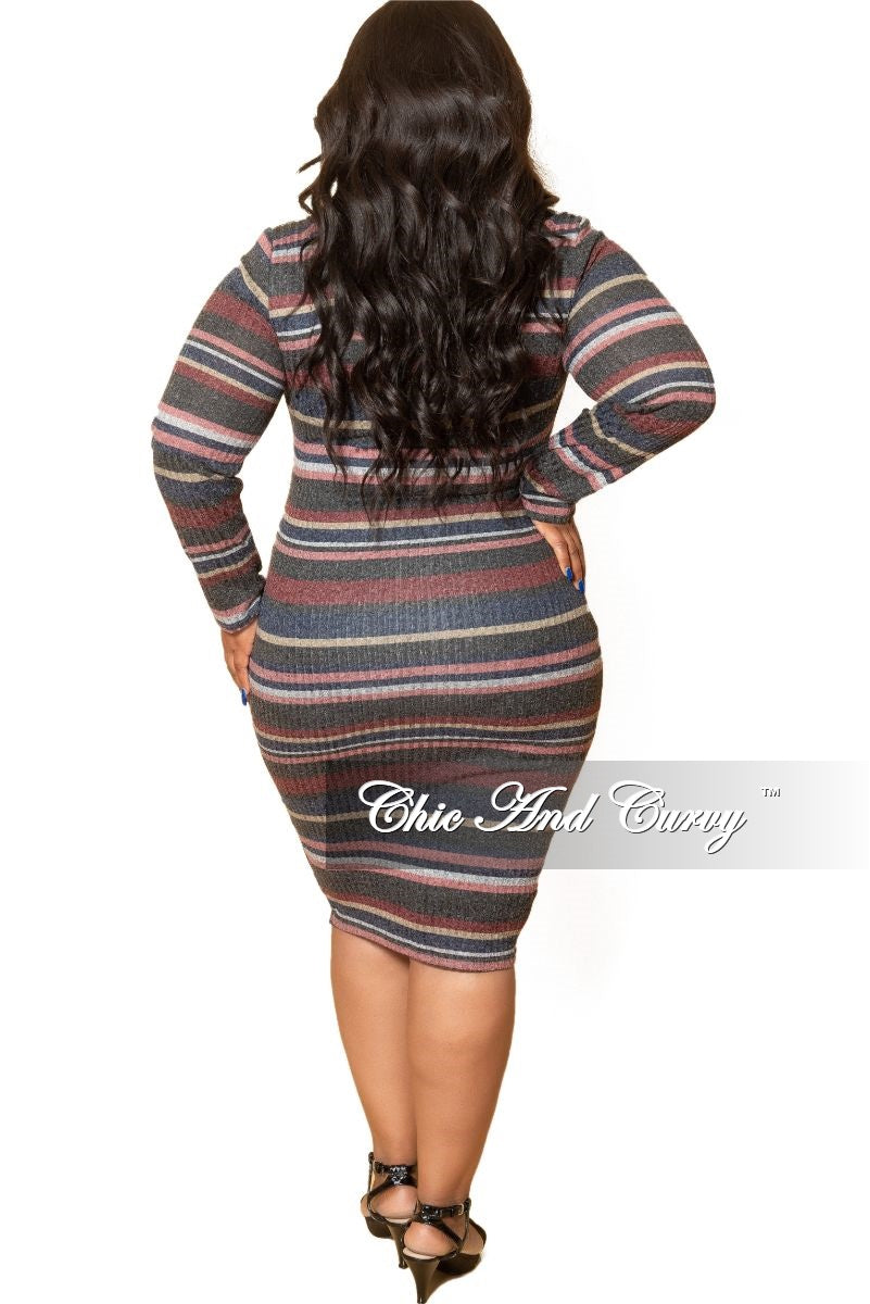 New Plus Size Long Sleeve Ribbed Knitted Dress in Grey Multi Color Stripe Print