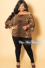 Final Sale Plus Size Chiffon Top with Bell Sleeves in Animal Print