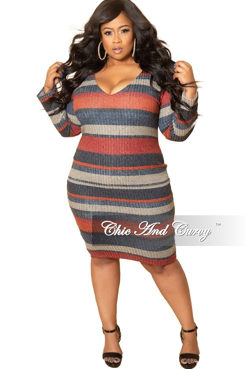 New Plus Size Long Sleeve Ribbed Knitted Dress in Red Multi Color Stripe Print