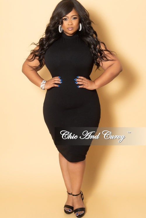New Plus Size Sleeveless Mock Neck Dress in Black