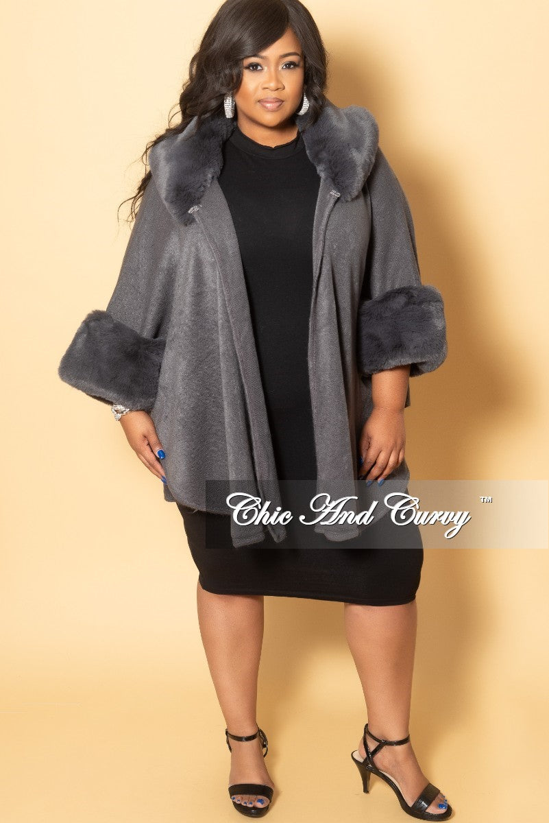 Final Sale Plus Size Poncho with Faux Fur Trim in Grey