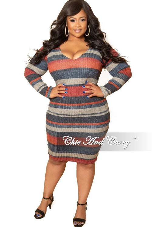*Deal of the Day Final Sale Plus Size Long Sleeve Ribbed Knitted Dress in Red Multi Color Stripe Print