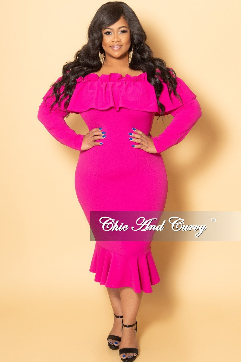 New Plus Size Off the Shoulder Long Sleeve Ruffle BodyCon Dress in Fuchsia
