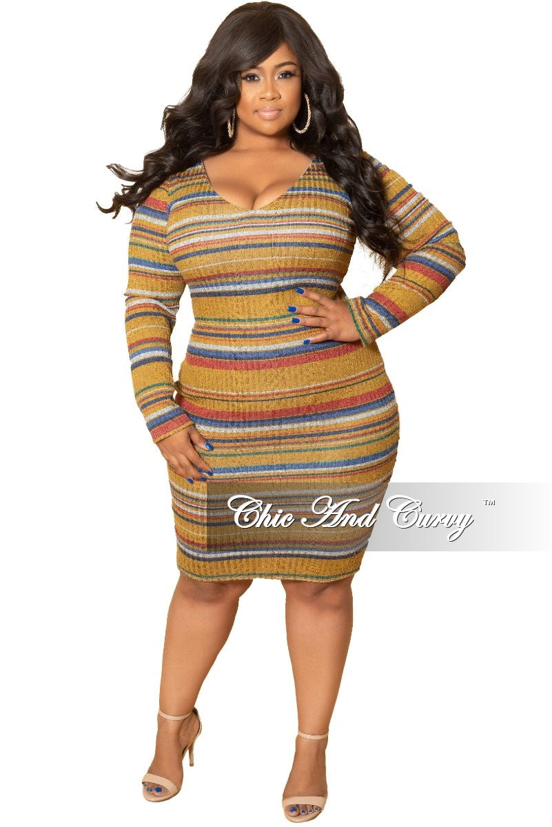 New Plus Size Long Sleeve Ribbed Knitted Dress in Mustard Multi ...