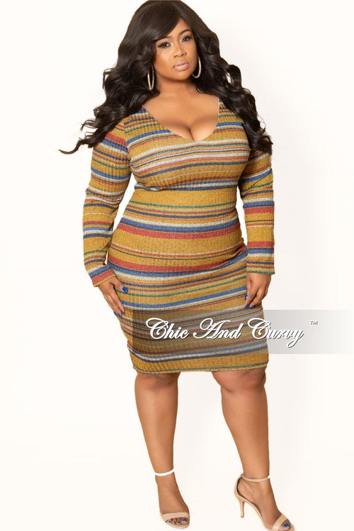 New Plus Size Long Sleeve Ribbed Knitted Dress in Mustard Multi Color Stripe Print