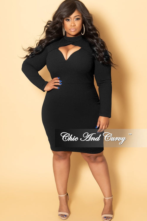 New Plus Size BodyCon Dress with Front Cutout and Back Zipper in Black