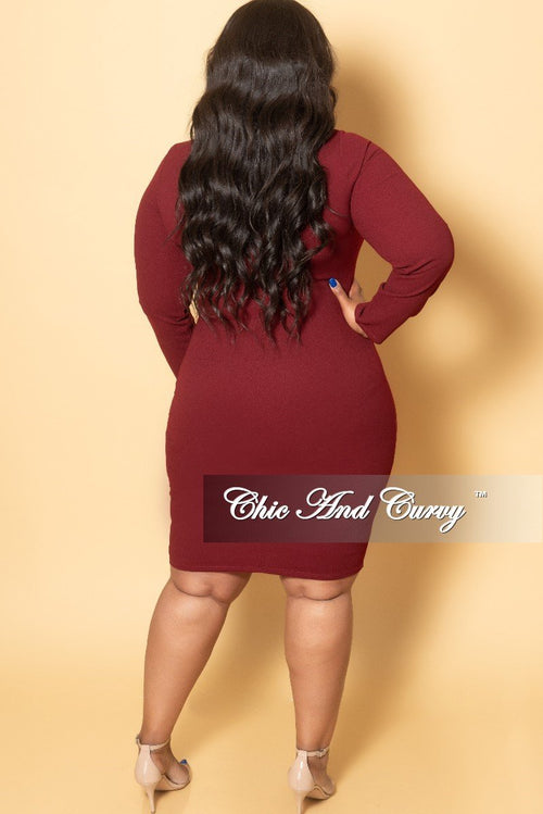 New Plus Size BodyCon Dress with Front Cutout and Back Zipper in Burgundy