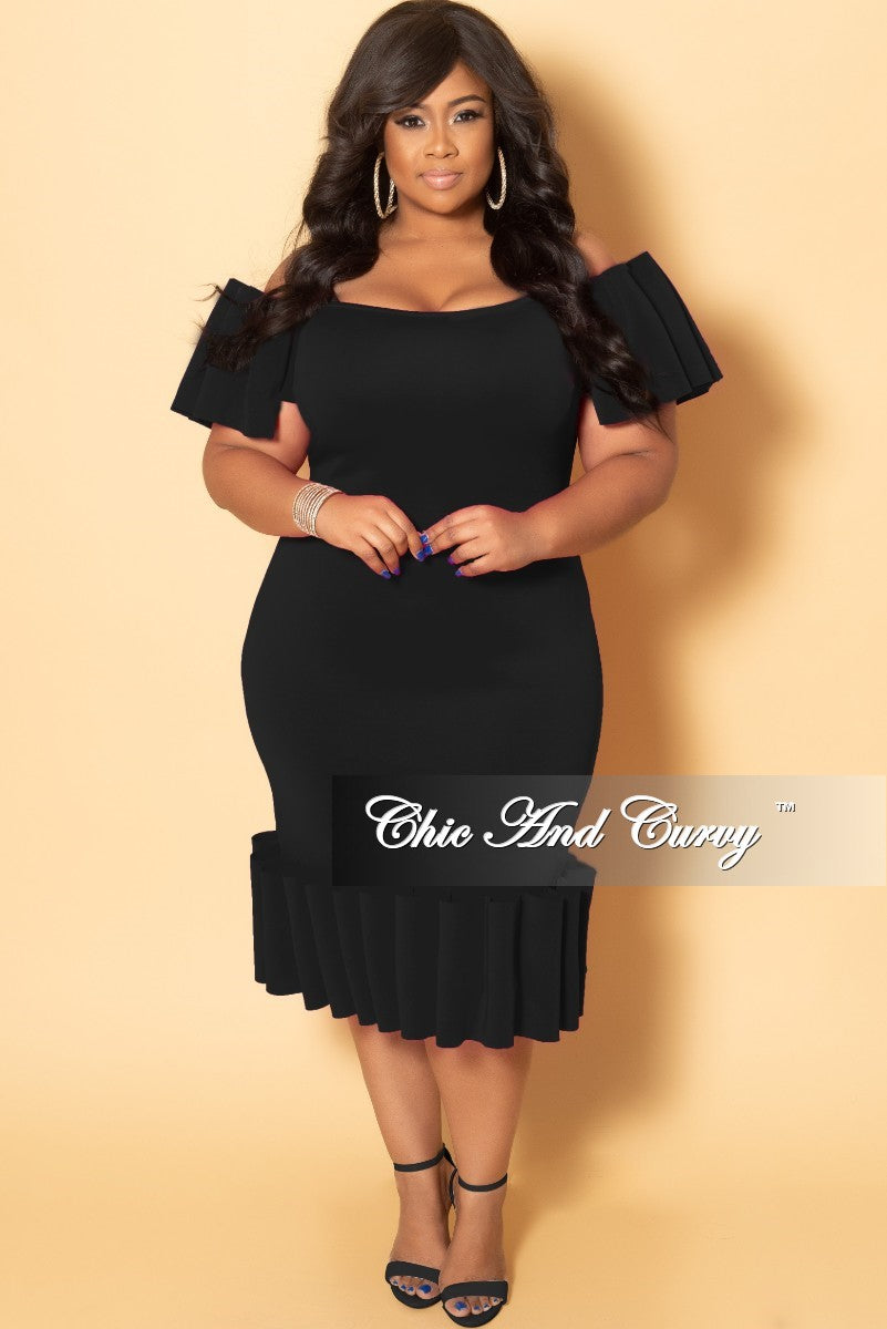 a98e31fc1fa41 Final Sale Plus Size Off the Shoulder BodyCon Dress with Exaggerated R –  Chic And Curvy