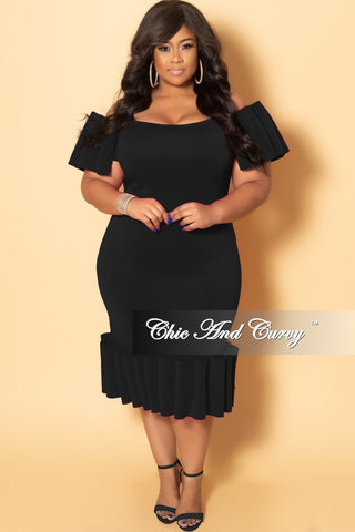 Final Sale Plus Size Shimmer Velvet Deep V-Neck Faux Wrap Gown with Bell Sleeves in Black (Seasonal)