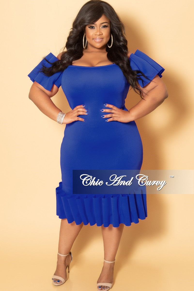 Final Sale Plus Size Off the Shoulder BodyCon Dress with Exaggerated Ribbon  Sleeves and Bottom in Royal Blue