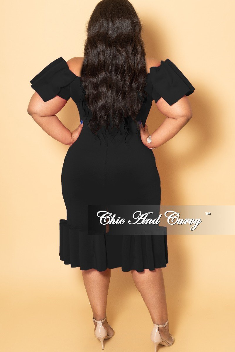 Final Sale Plus Size Off the Shoulder Exaggerated Ribbon Bodycon Dress in Black