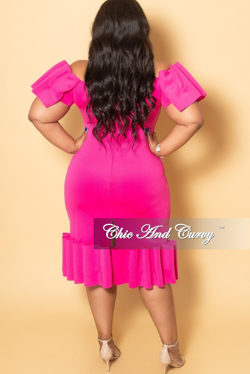 Final Sale Plus Size Off the Shoulder BodyCon Dress with Exaggerated Ribbon Sleeves and Bottom in Fuchsia