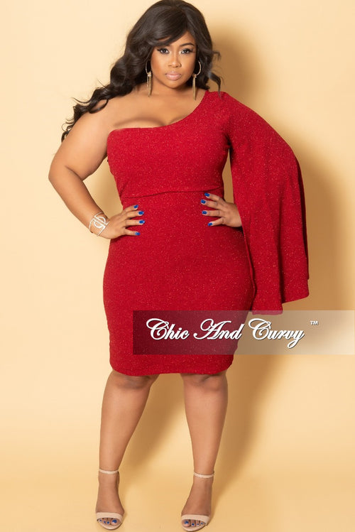 Final Sale Plus Size One Sided Bell Sleeve Shimmer BodyCon Dress in Red