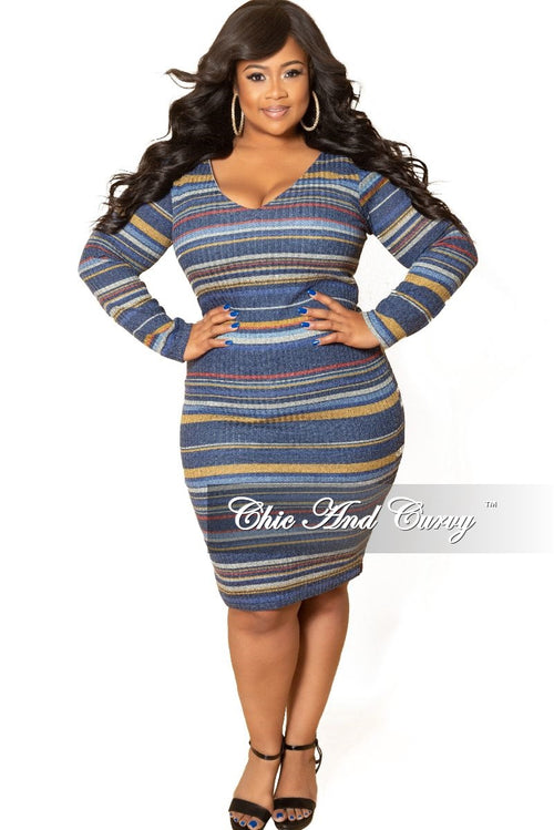 *Deal of the Day Final Sale Plus Size Long Sleeve Ribbed Knitted Dress in Blue Multi Color Stripe Print