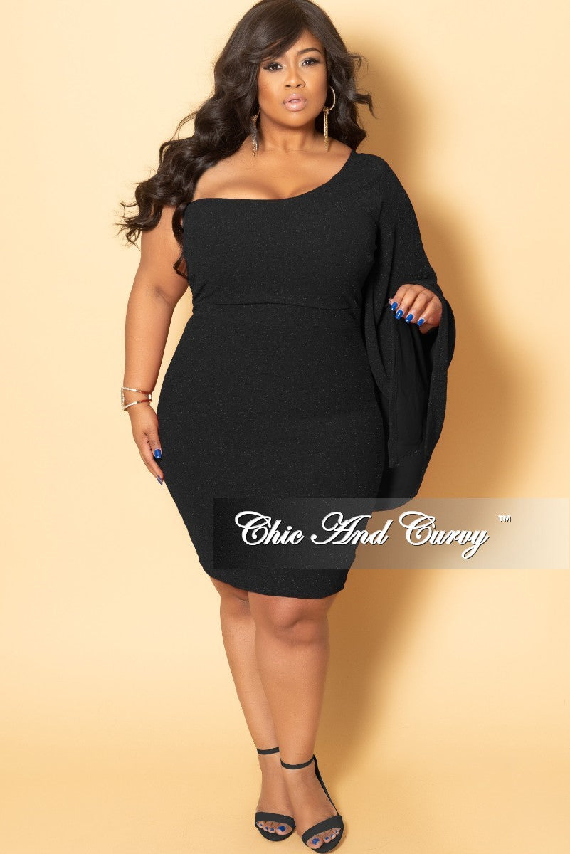 Final Sale Plus Size One Sided Bell Sleeve Shimmer BodyCon Dress in Black