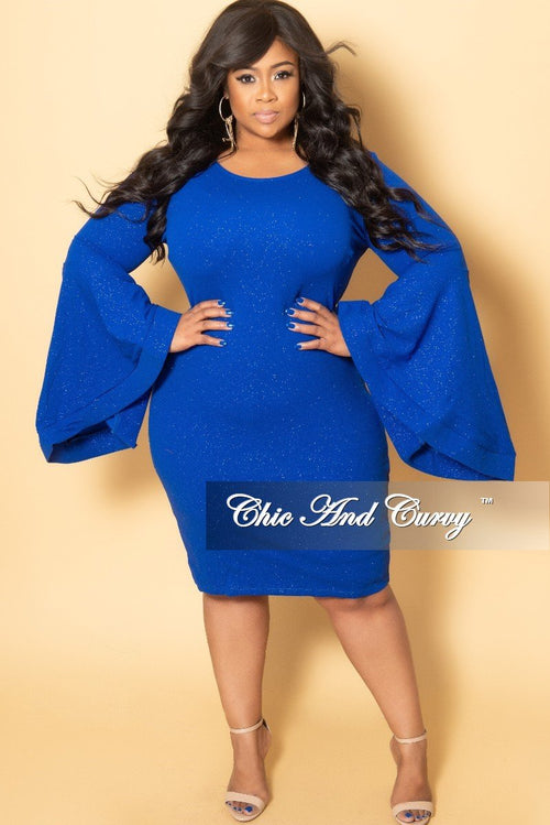 Final Sale Plus Size Glitter BodyCon Dress with Bell Sleeves in Royal Blue