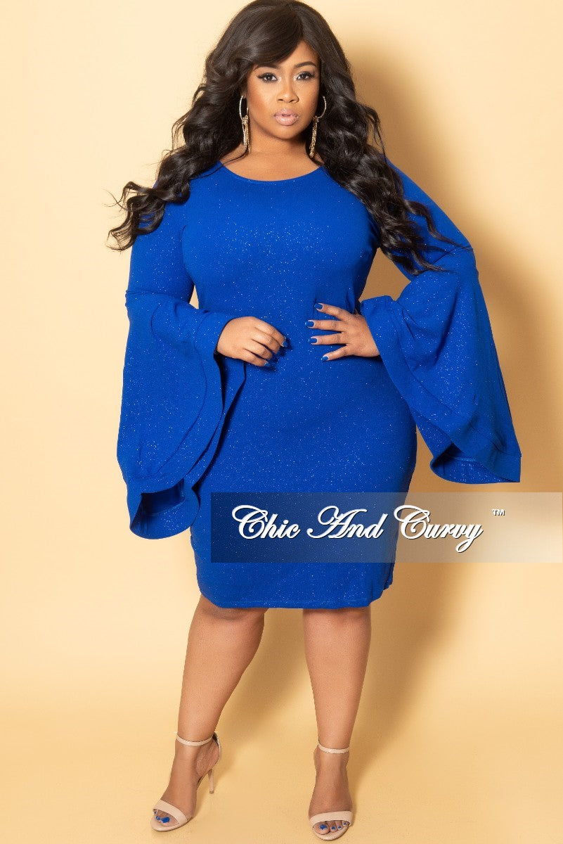99e07c753f46c3 Final Sale Plus Size Glitter BodyCon Dress with Bell Sleeves in Royal –  Chic And Curvy