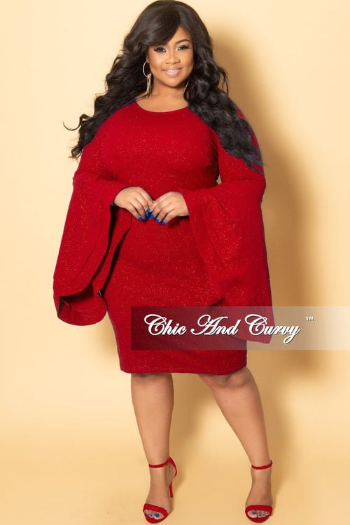 Final Sale Plus Size Glitter BodyCon Dress with Bell Sleeves in Red