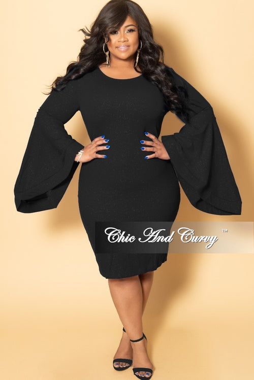 Final Sale Plus Size Glitter BodyCon Dress with Bell Sleeves in Black