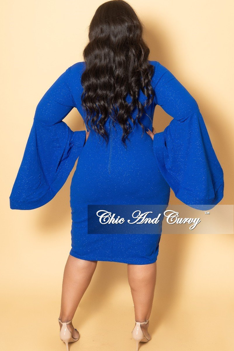 052326ea573 Final Sale Plus Size Glitter BodyCon Dress with Bell Sleeves in Royal –  Chic And Curvy