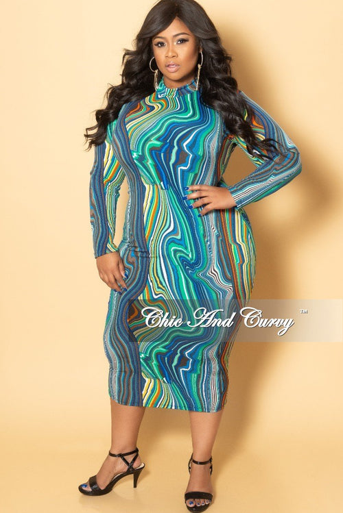 New Plus Size Long Sleeve BodyCon Dress with Back Gold Zipper in Royal Blue Multi Color Print