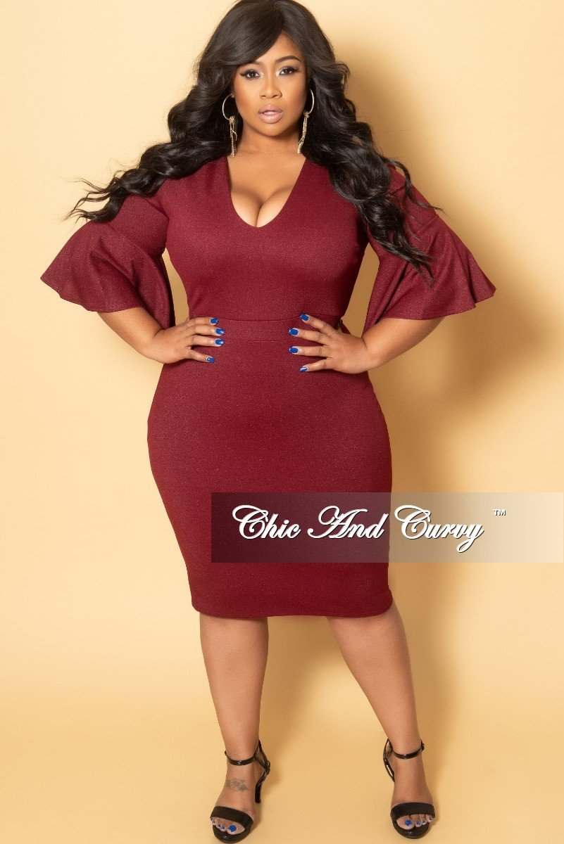 New Plus Size V-Neck BodyCon Dress with Bell Sleeves in Burgundy