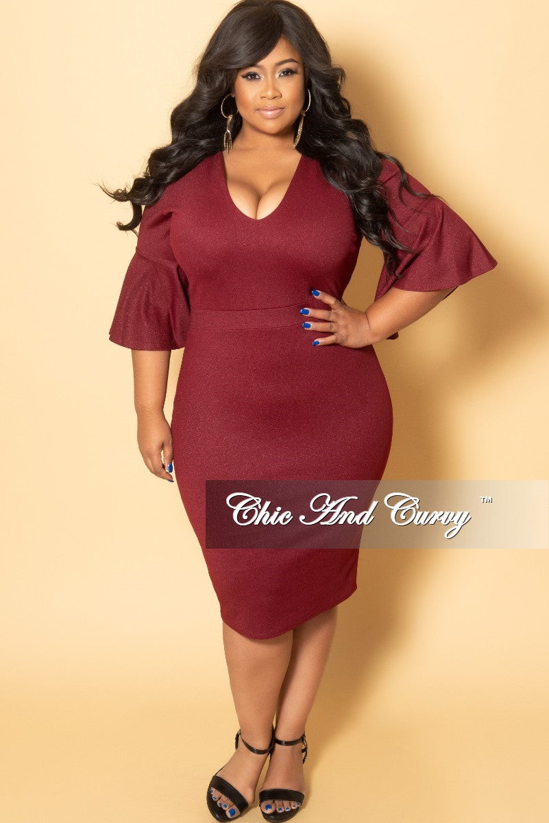 2e719350e5f New Plus Size V-Neck BodyCon Dress with Bell Sleeves in Burgundy ...