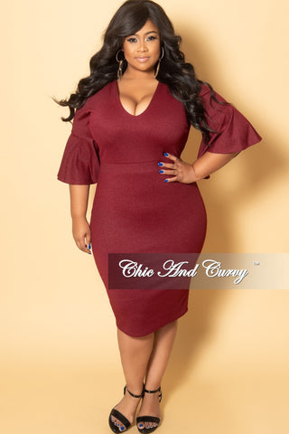 Final Sale Plus Size Off the Shoulder Long Dress in Burgundy