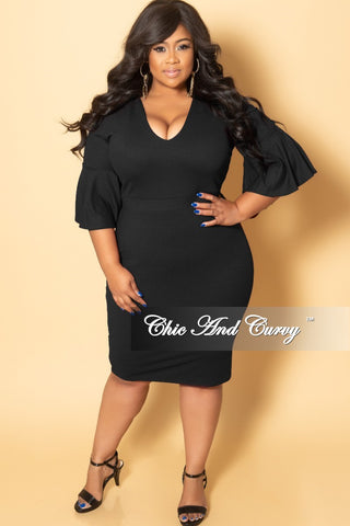 Final Sale Plus Size Glitter Ruffle BodyCon Dress in Black Multi Color