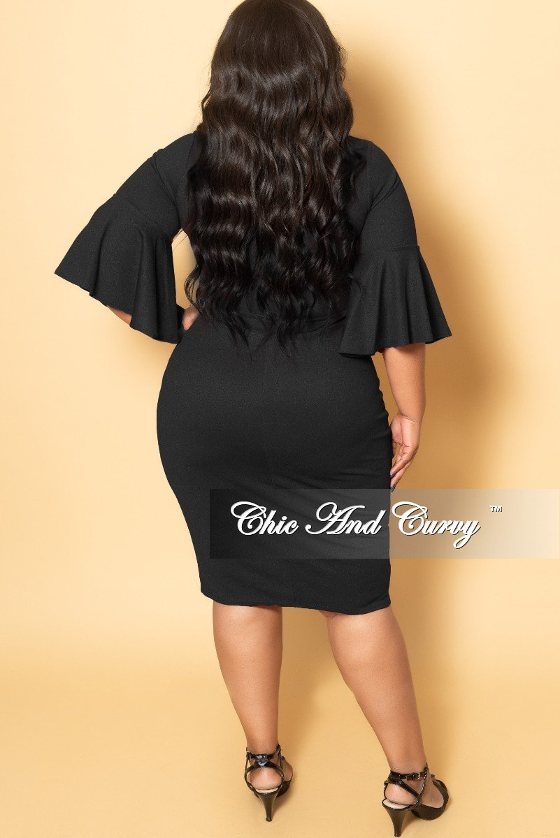 Final Sale Plus Size V-Neck BodyCon Dress with Bell Sleeves in Black