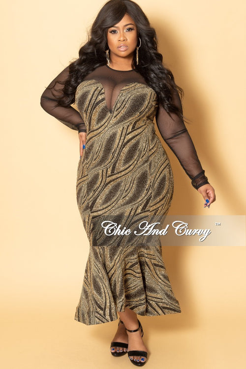 Final Sale Plus Size BodyCon Dress with Mesh Top and Ruffle Bottom in Black and Gold Glitter Design Print