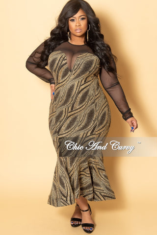 Final Sale Plus Size Cold Shoulder Dress with Bell Sleeves in Metallic Multi Color