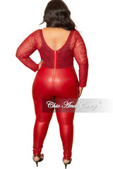 Final Sale Plus Size Jumpsuit with Mesh Top Liquid Bottom in Burgundy