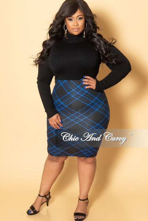 Final Sale Plus Size Pencil Skirt in Royal Blue and Black