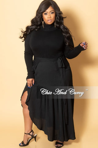 Final Sale Plus Size Sequin Long Skirt with Front High Slit in Black