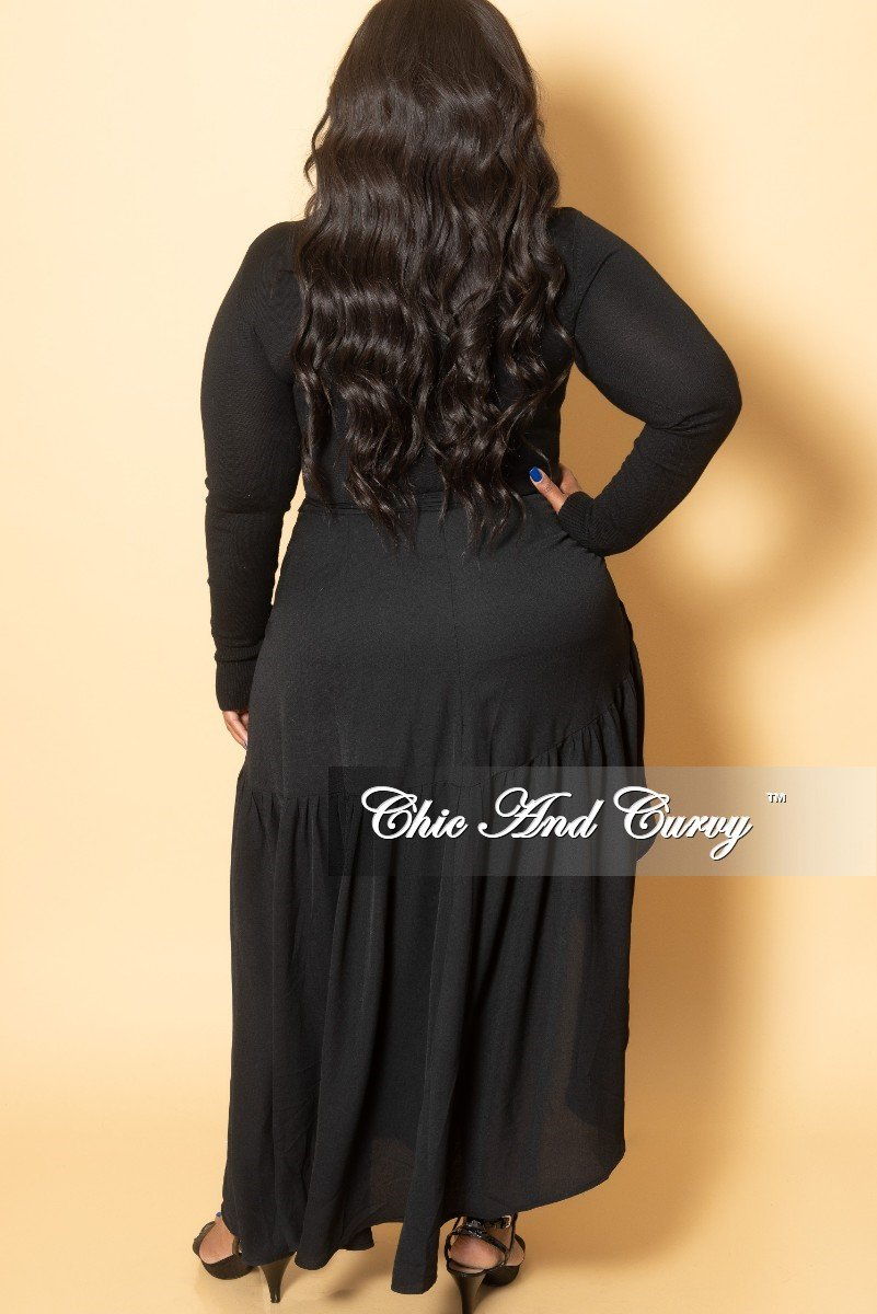 New Plus Size Ruffle High-Low Wrap Skirt Black