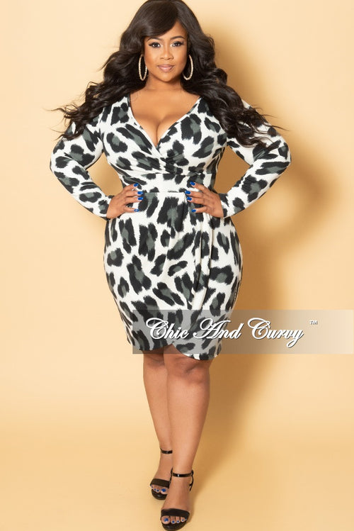New Plus Size Long Sleeve Faux Wrap BodyCon Dress in Ivory Black and Gray Animal Print