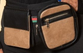 Final Sale Plus Size Double Belted Fanny Pack in Beige/Tan with Red Black and Green Trim Belt