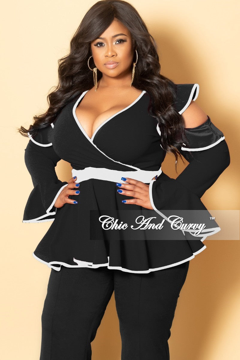 New Plus Size Cold Shoulder Faux Wrap Peplum Top with Bell Sleeves in Black and White