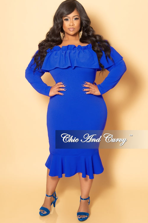 New Plus Size Off the Shoulder Long Sleeve Ruffle BodyCon Dress in Royal Blue