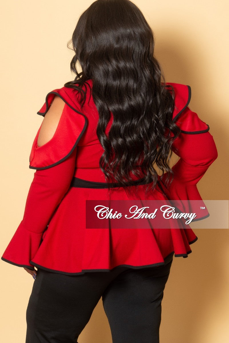 New Plus Size Cold Shoulder Faux Wrap Peplum Top with Bell Sleeves in Red and Black